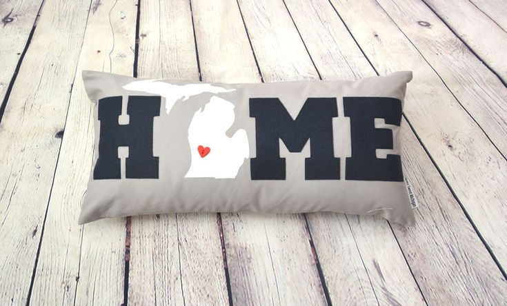 Excited to share the latest addition to my #etsy shop: HOME Michigan lumbar pillow - Pure Michigan - Navy pillow - 12 x 24 gray pillow - State pillow - Custom pillow - red white blue - nautical http://etsy.me/2zL1idb #housewares #pillow #beige #nursery #gray #rectangle #pillowcov