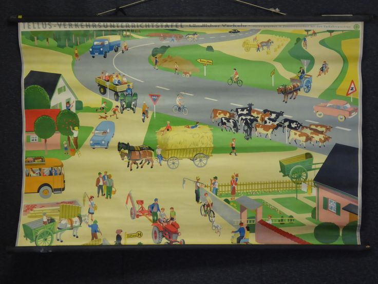 Vintage 1950s School Chart of a German Town Village Life - The Collectors Bag