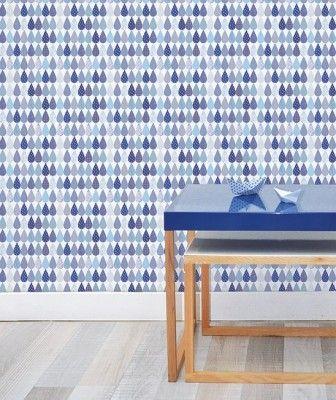 Lilipinso Tapeta na zeď vliesová Gouttes marine 50 x 250 cm