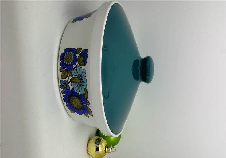 Blue Teal Tureen with lid by Gem Tableware Mod Flowers/ Original Retro 1960s Serving Bowl/Vintage Tableware/Mid Century Tureens/2 available by RetroandRitzy on Etsy