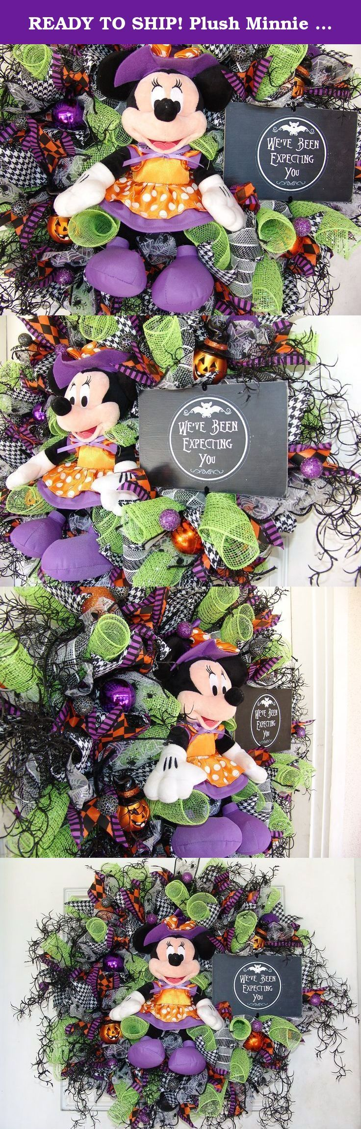 """READY TO SHIP! Plush Minnie Mouse Witch Halloween Wreath Decor Disney, Birthday, Anniversary, Gift, Door Decoration. Oh my goodness, is it wrong to fall in love with my own wreath?? If you think this looks awesome from the photo, wait until you see it in person. The pictures really don't do it justice! Please note that I have a matching Mickey Mouse wreath for sale as well. Sold separately. A gorgeous must have pair of wreaths, especially if you have double doors. Roughly 27""""-28"""". What…"""