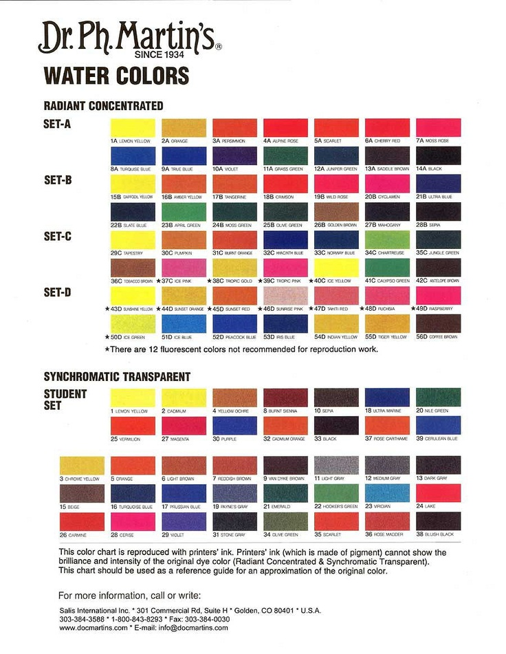 Dr. Ph Martin's Radiant Concentrated Watercolor; color chart.: Watercolor Class, Martins Watercolors, Craft Room Closet Supplies, Concentrated Watercolor, Craft Supplies, Color Charts, Watercolor Mixing