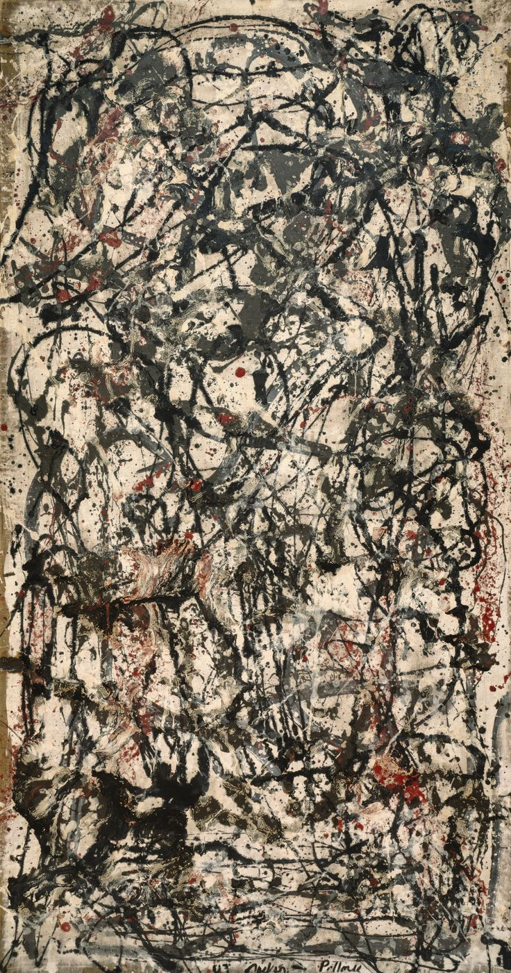 Jackson Pollock, Enchanted Forest, 1947. Oil on canvas, 87 1/8 x 45 1/8 inches (221.3 x 114.6 cm)