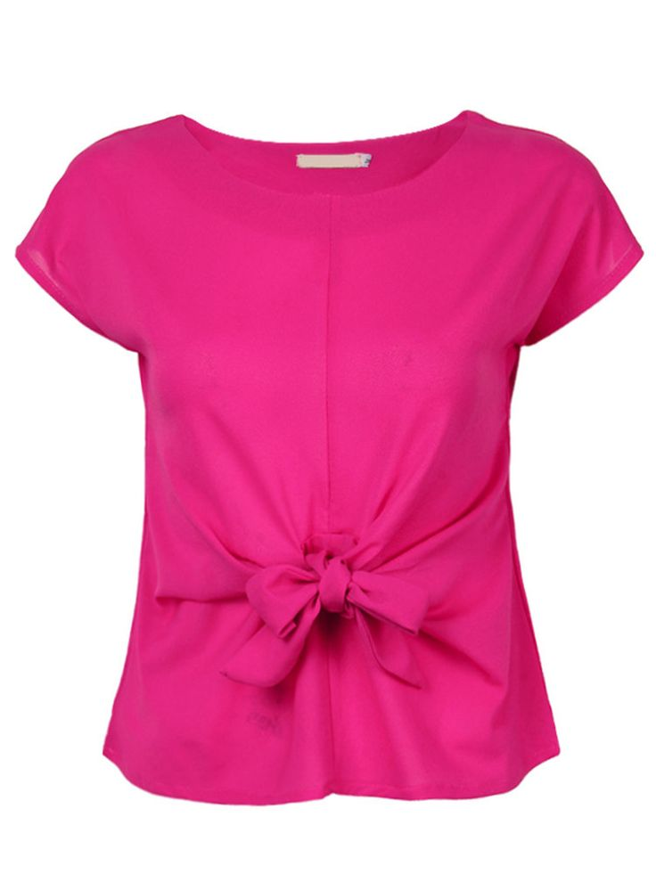 Chiffon Bow Tie Stitching Short Sleeve T-Shirt For Women