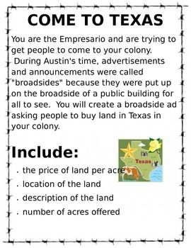 This is a great project for 7th grade Texas History. It works great for studying the colonization of Texas and Empresarios.