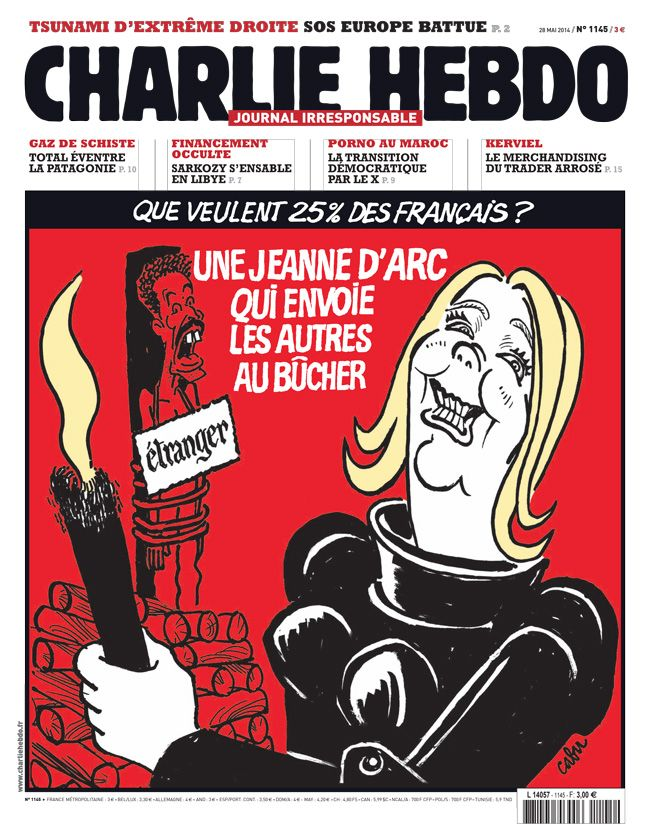 Charlie-Hebdo - semaine du 28 mai 2014 - #Cabu #satire #élections #Europe #FN #xénophobe
