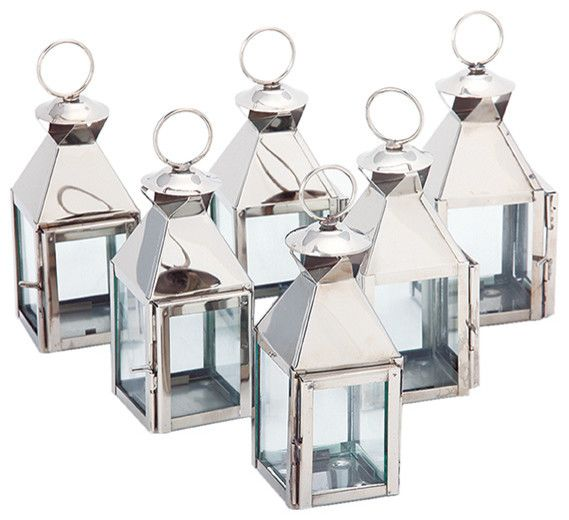 Candle Holders Design : Classic Lanterns Polished Nickel Set Of Six Transitional Stainless Mini Candle Holders Shinings Silvers Colours Elegances Luxury mini candle holders Lantern Tealight Holder. Mini Hurricane Votive Holders. Mini Lanterns In Bulk.