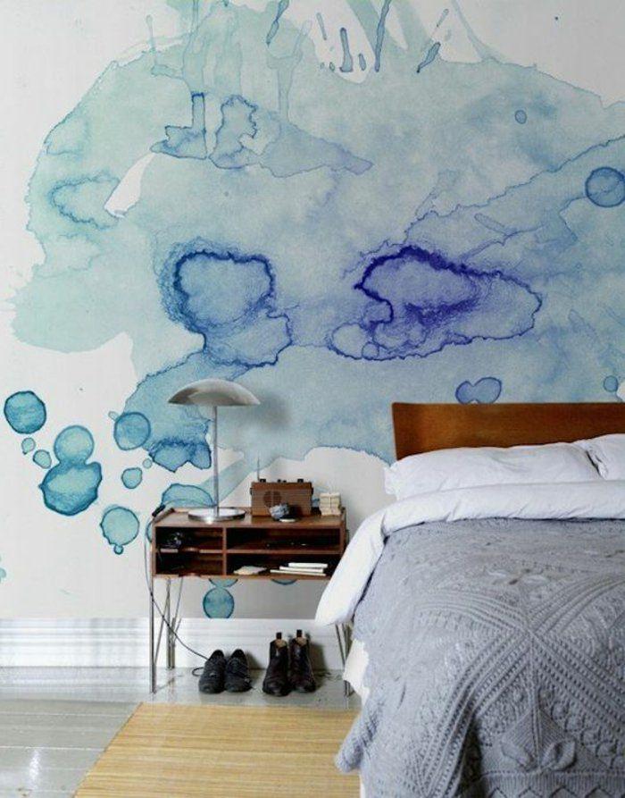 peindre mur et plafond, effet peinture aquarelle, petit chevet