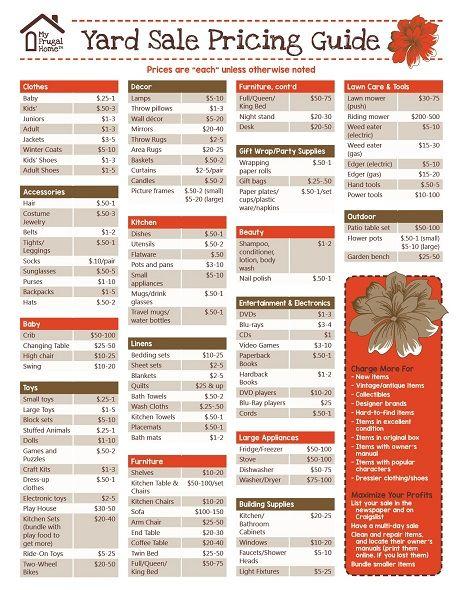 Nice Printable Yard Sale Pricing Guide