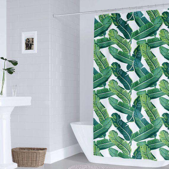 Tropical Shower Curtain Banana Leaves Tropical Shower Curtain Bathroom Decor Shower Curtain Jungle Leaves Beach Bathroom Decor Tropical Shower Curtains Banana