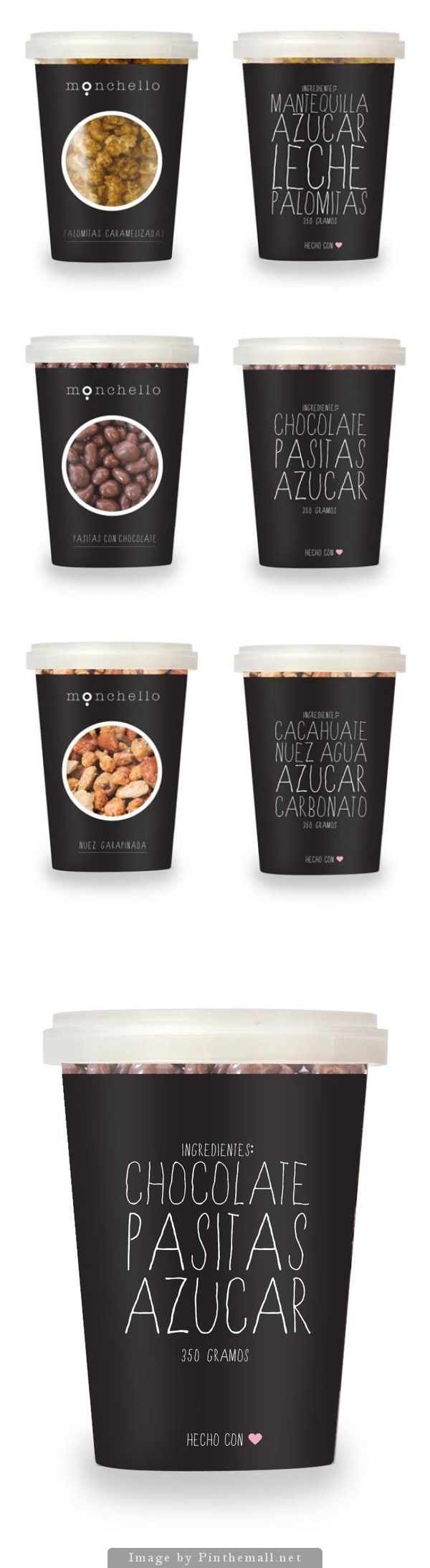 MONCHELLO packaging design for a line of home-made gourmet snacks.