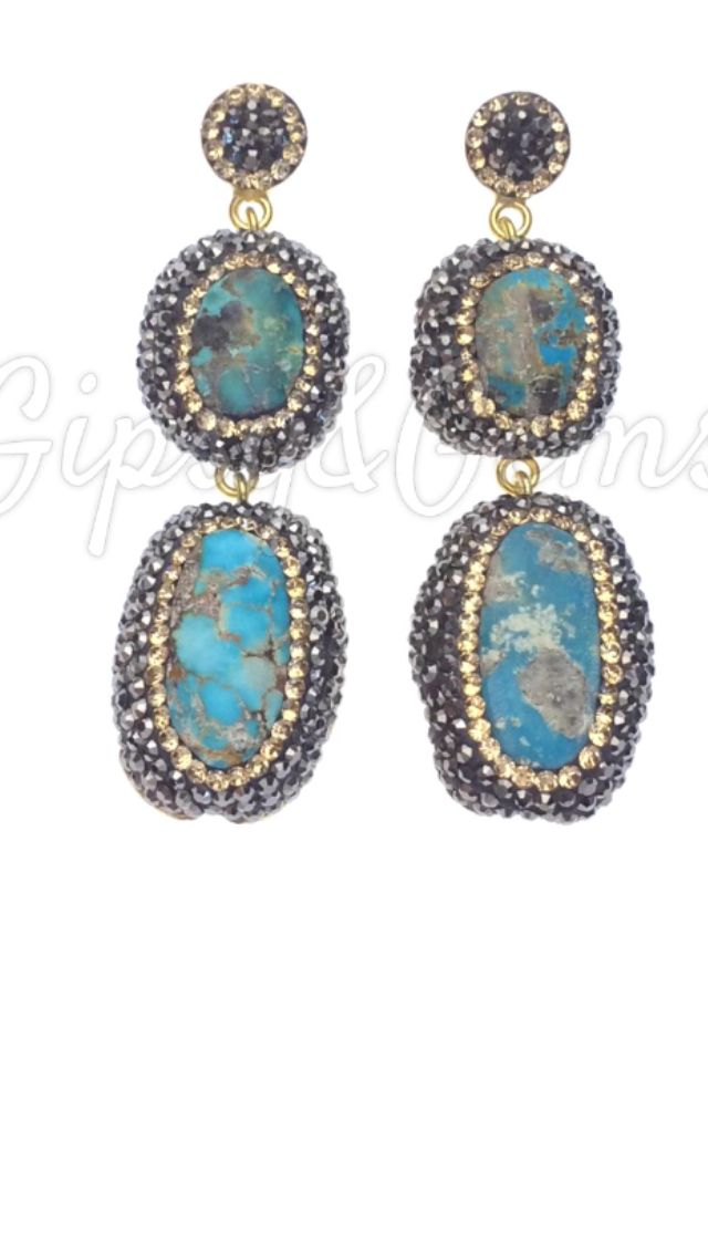 Gipsy&Gems double drop turquoise earrings