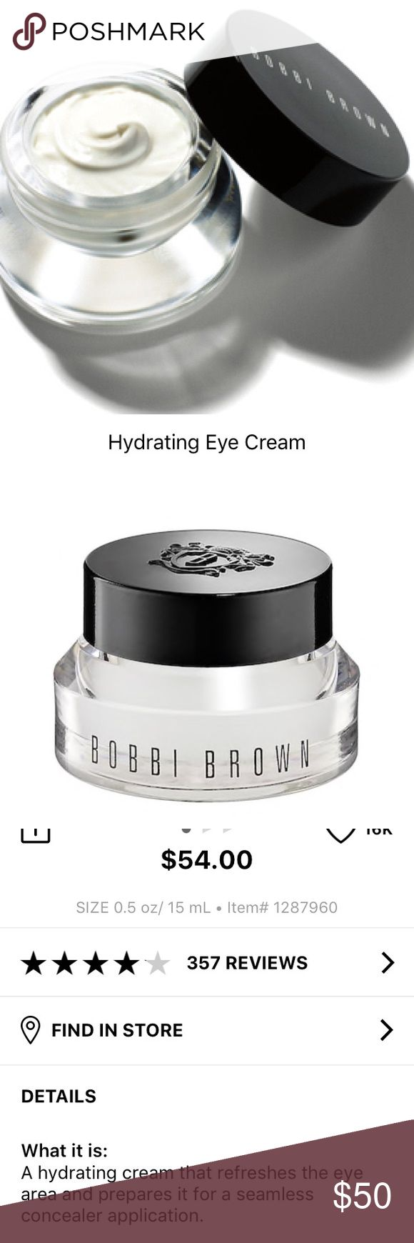 Bobbi Brown Hydrating Eye Cream NEW — sealed in box. Purchased from Sephora recently. This is a legendary eye pruning product. Prep for perfect makeup application. Price is firm. Bobbi Brown Makeup Eye Primer