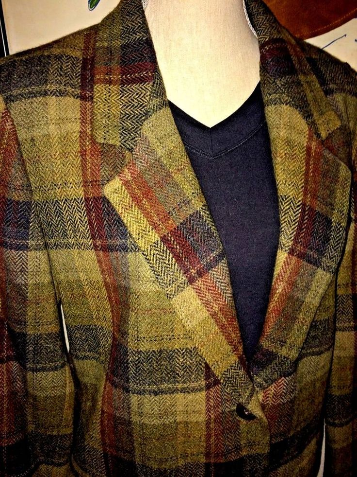 EDDIE BAUER WOOL PLAID JACKET/BLAZER, GREEN/MULTI PLAID, LINED, MISSES LARGE #EDDIEBAUER #BLAZERBASICJACKET