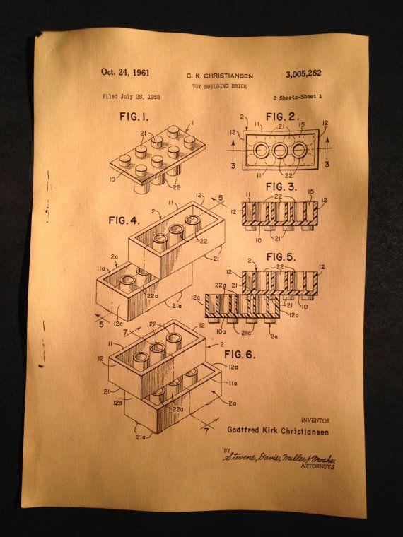 Original Lego Patent - Vintage Science Print
