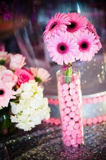 Pink Candy & Flower Centerpieces from HWTM - mazelmoments.com