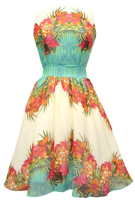 This may be a little too luau-y, but I am seriously in love with this dress... just sayin! I kind of like the idea of a print because then it can easily be worn again without looking TOO ' DUR DUR IMA BRIDESMAID DRESS' like many at David's Bridal are.