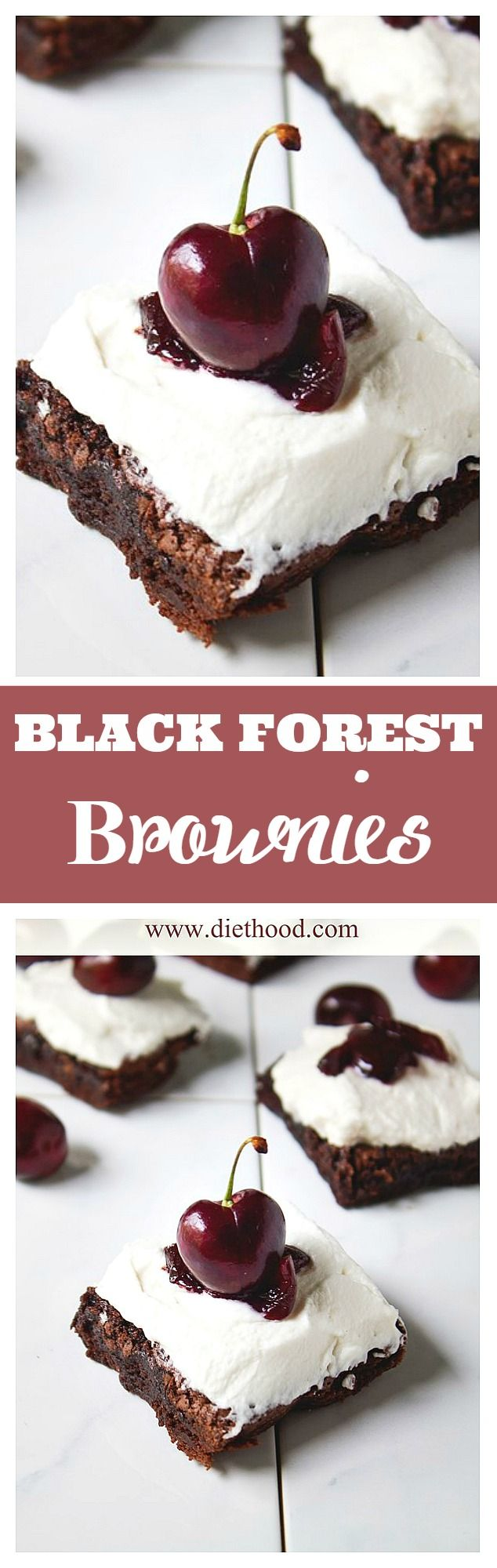 Chocolate and Cherry Liqueur make these Black Forest Brownies the best Brownies, yet!!