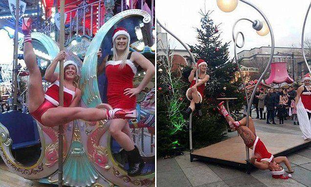 França 'Santas sexy' executar rotina de dança erótica no festival de Natal
