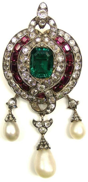 19th century emerald, ruby, diamond and pearl pendant brooch, English c.1860,