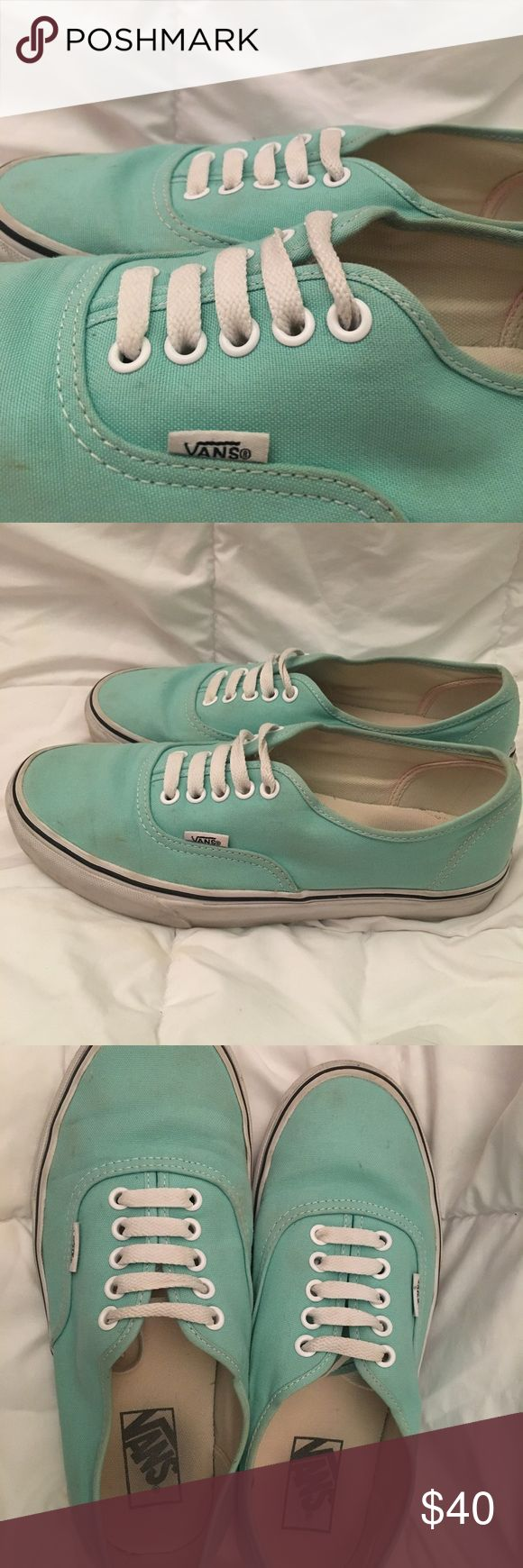 Mint green Vans Worn a few times, some minor smudges on fabric, unisex. No trades please (: all purchases come with a free mini gift!! Vans Shoes Sneakers