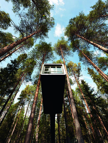 "Located in Harrads, a village in the north of Sweden, the Treehotel promises to fulfill childhood fantasies of living in the treetops like Tarzan. Six different ""treerooms"" and a freestanding sauna perch in branches 13 to 20 feet off the ground."
