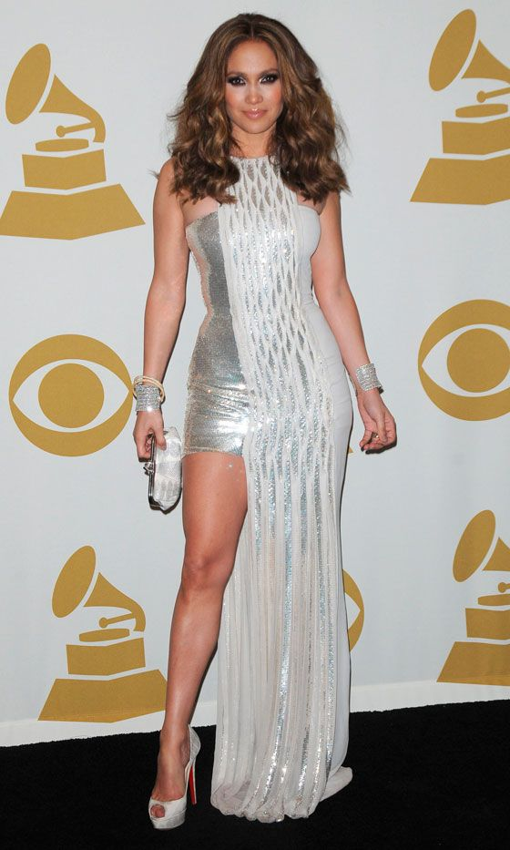 Jennifer Lopez Shows Off Her Pins In A Sparkly Versace Dress At The Grammy's, 2010