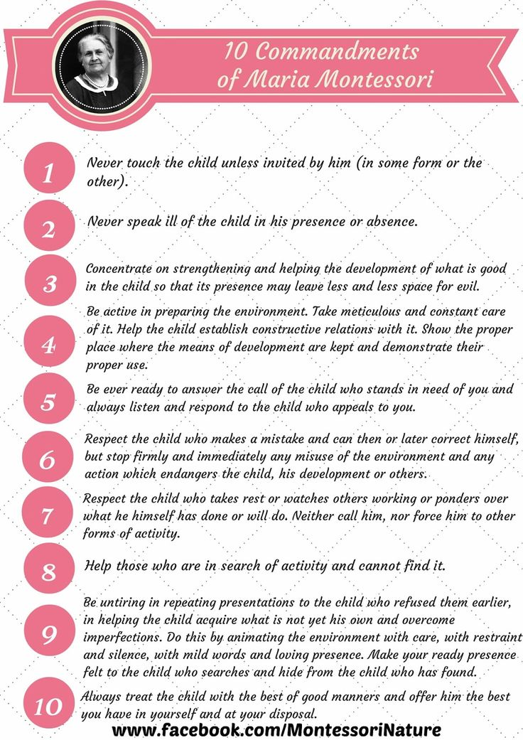 Montessori Nature 10 Commandments Of Maria
