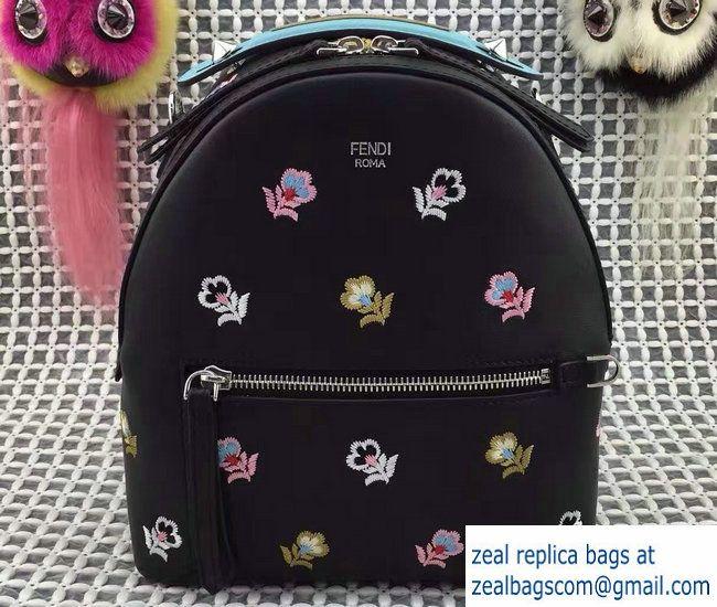 Fendi Floral Embroidered Mini Zaino Backpack Bag Black Spring 2017