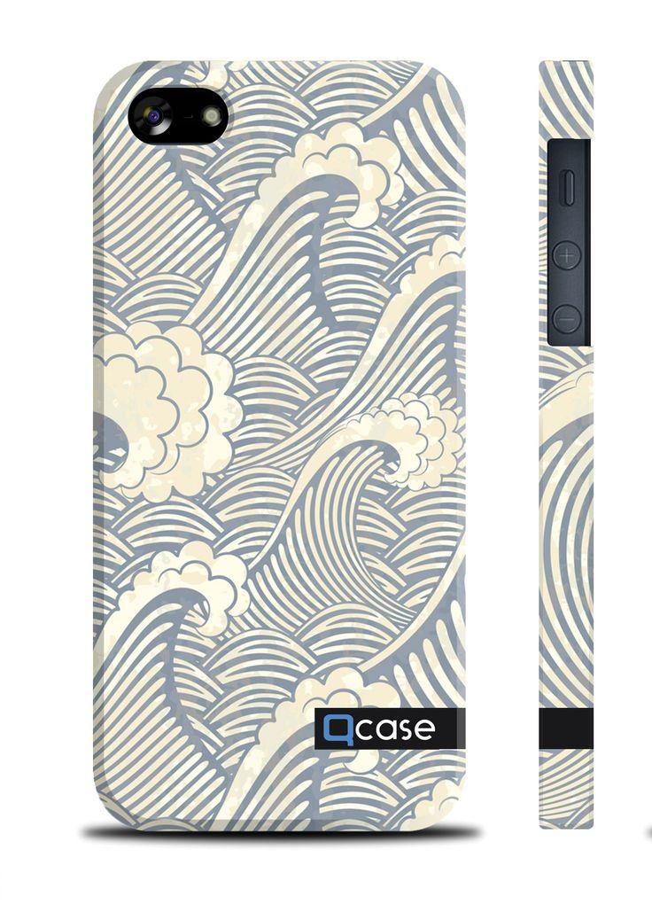 Чехол QCase для iPhone 5 | 5S Sea waves (пластиковый чехол, защитная пленка, заставка) купить в интернет-магазине BeautyApple.ru.