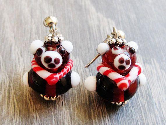 Cute Animal Bear Earrings Lampwork Glass by GlassHouseLampwork