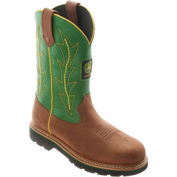 John Deere Women's 10 Inch Wellington Boots ($140) ❤ liked on Polyvore featuring shoes, boots, green leather, slip resistant shoes, rubber boots, green leather boots, lined rubber boots and pull on leather boots