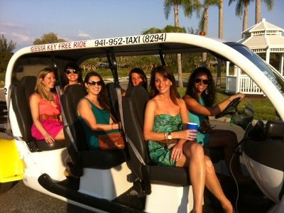 Don't drink & drive - take Siesta Key Free Rides! Siesta Key Free Ride offers free – tips only, fun and safe rides on Siesta Key, Florida in an open-air electric vehicle.