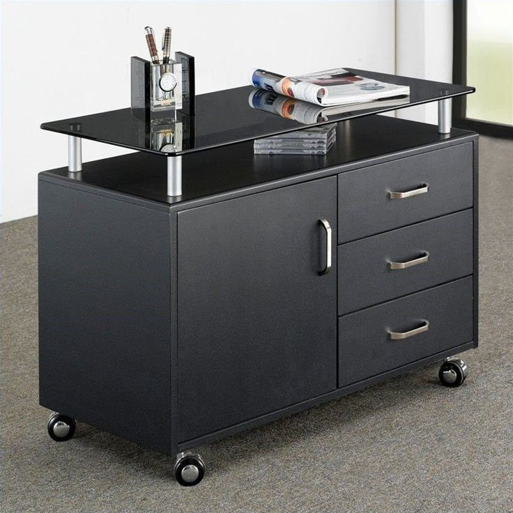 Lowest price online on all Techni Mobili Seguro 3 Drawer Wood Storage Cabinet in Graphite - RTA-S10-GPH06