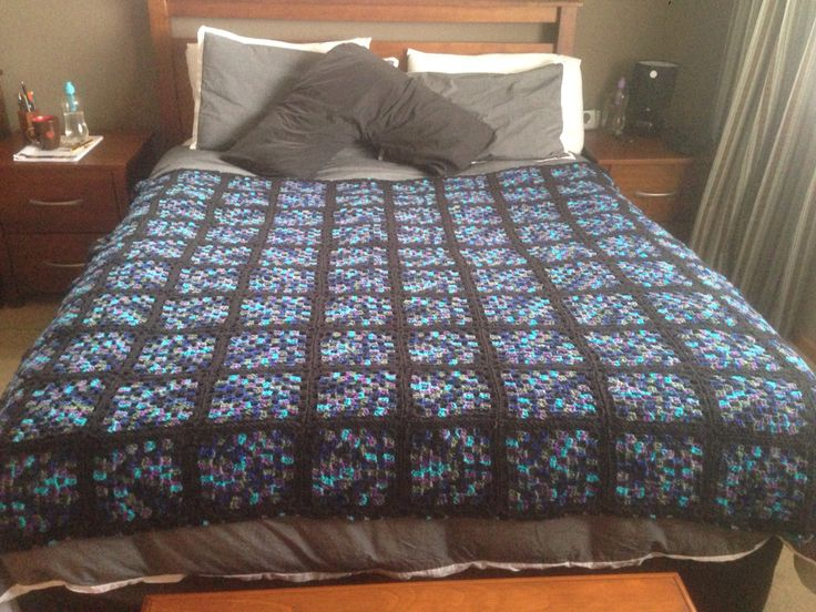 10x10 granny square blanket. A year in the making!