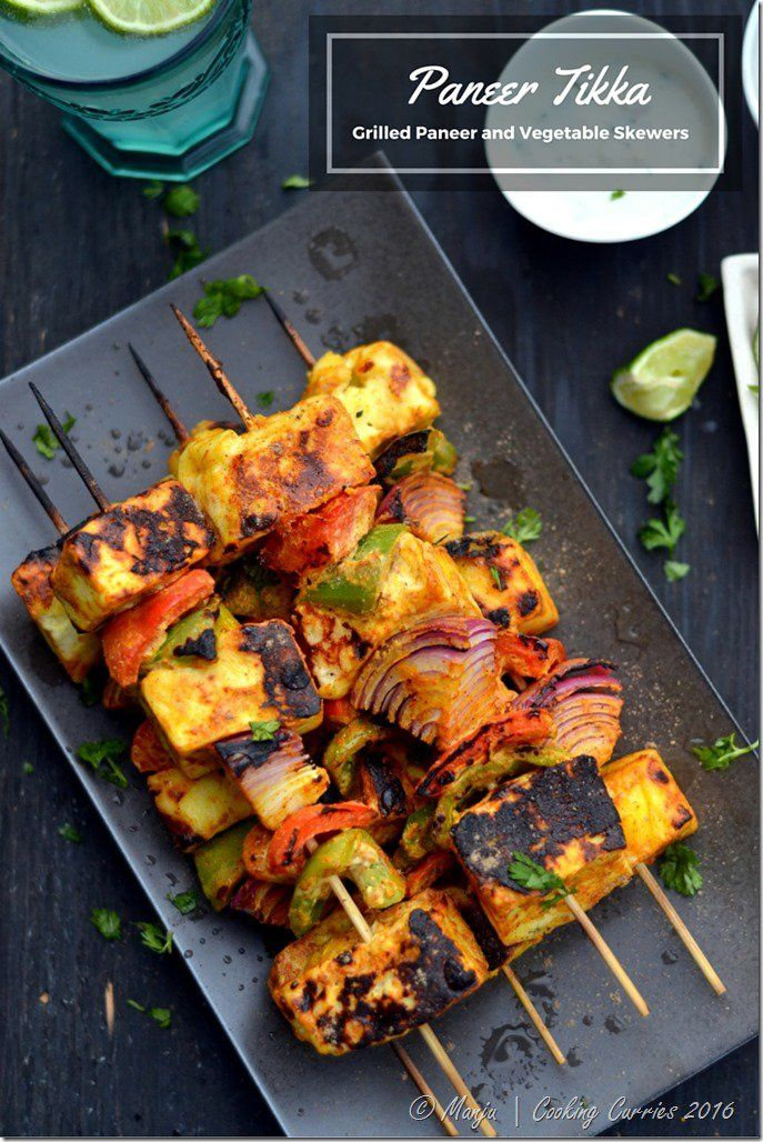 Paneer Tikka, a marinated and grilled cheese and vegetable skewer, is a delicious, easy, and flavorful grilled Indian dish everyone loves!