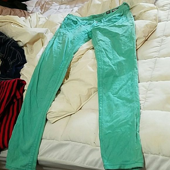 Final price Mint /sea green miss me skinny jeans Mint green miss me skinny jeans size 28. Worn once. Need to be ironed..clearly lol. New condition 30 Inch inseam Miss Me Jeans Skinny