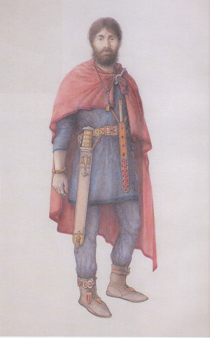 Reconstruction of a 5th century Germanic nobleman based upon grave finds from Blučina, Czech Republic