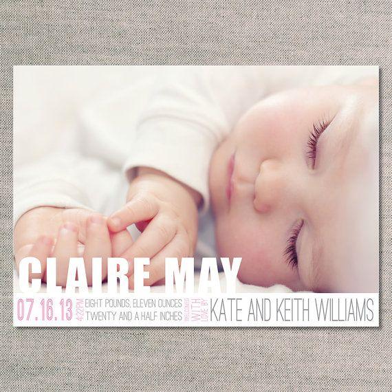 Annonces de naissance La Clare par UhOhPasghettio sur Etsy
