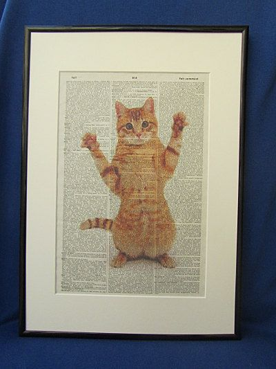 Ginger Cat Wall Art Print by DecorisDesigns on Etsy