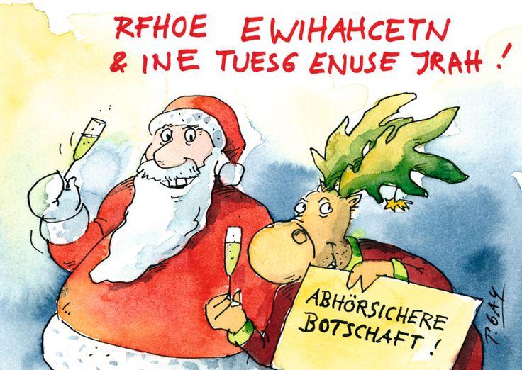 """Peter Gaymann Postkarte """"Abhörsichere Botschaft!"""""""
