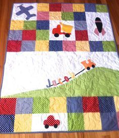 Personalised Baby Boy Quilt with truck, plane, train, car, rocket, made to order, modern quilt, baby boy crib quilt, green, blue, red,