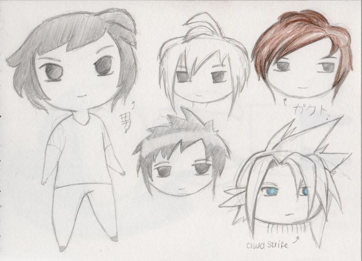 This image shows the different ideas that the designer had when thinking of hair styles.