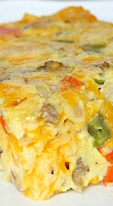 Breakfast Bake ~ This egg, sausage and cheese breakfast bake is so easy to make and is perfect for feeding a hungry crowd