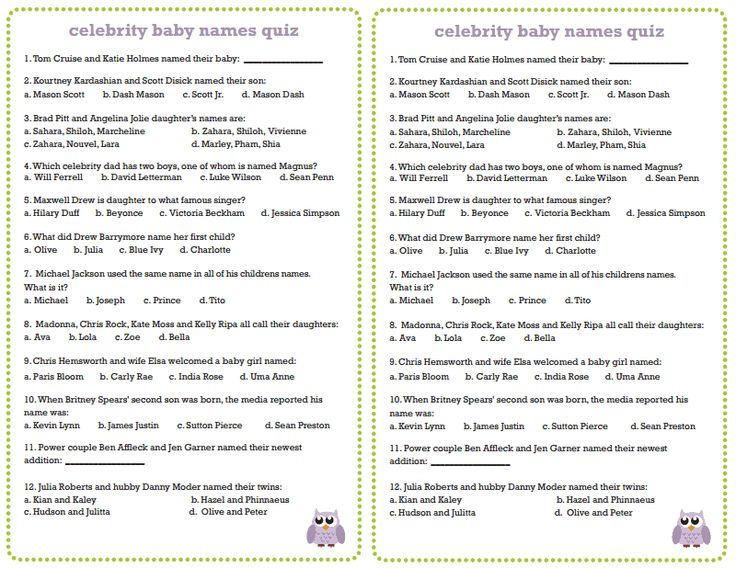 Free Printable Celebrity Baby Name Game - My Party Games