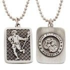 Lead Free Pewter Lacrosse Dog Tag on 22″ Stainless Steel Chain Sports Jewelry Fine Pewter Sports Patron Saint St. Medal Catholic Cardedw/Chain 22″ Stainless SteelBead Chain Carded