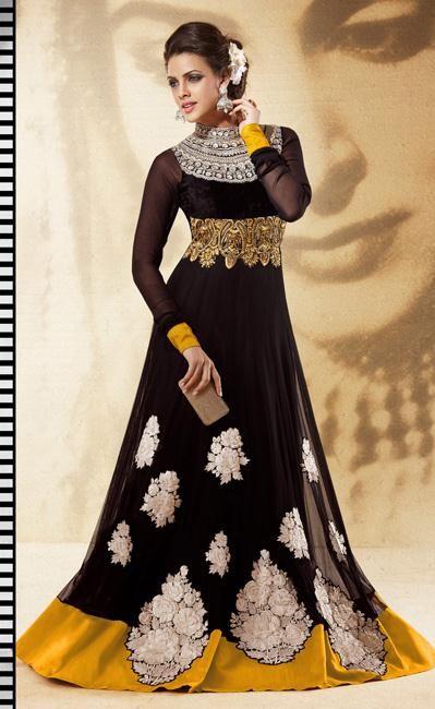 USD 113.5 Black Faux Georgette Floor Length Designer Anarkali Suit 27019
