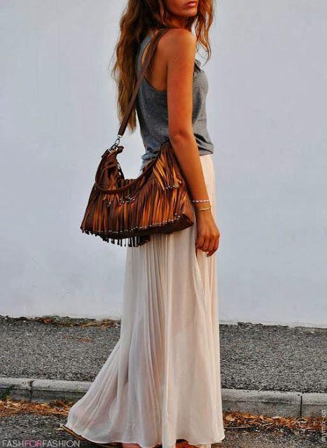 women, fashion, skirt, maxi, handbag. summer, clothing, outfit, top, white, gray