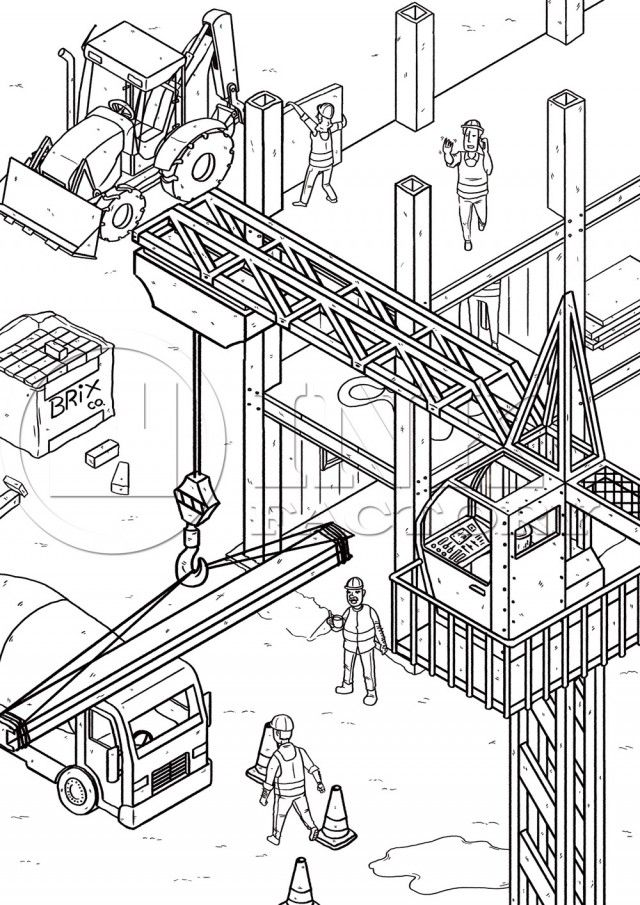 Free Printable Construction Site Colouring Sheet For