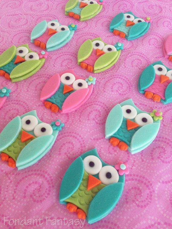 Fondant Owl Cupcake Toppers by FondantFantasy on Ets
